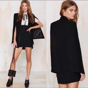 Nasty Gal Fly Away Wool Black  Cape Coat XS
